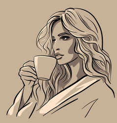 beautiful girl with a cup coffee vector image