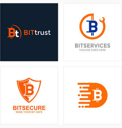 bitcoin logotype collection vector image