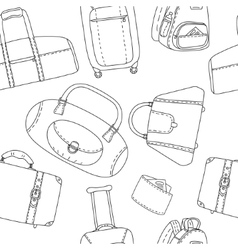 Black and white hand drawn travel bags seamless vector image