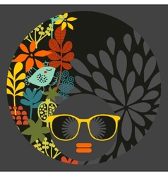 Black head woman with pattern hair vector