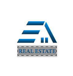 blue home real estate icon logo vector image
