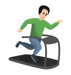 boy running at treadmill icon cartoon style vector image