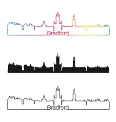 Bradford skyline linear style with rainbow vector image