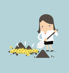 businesswoman digging a ground to find an idea vector image