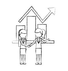businesswomen statistic report business chart vector image