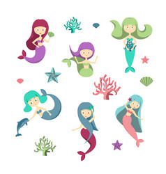 cartoon color characters mermaids girls set vector image