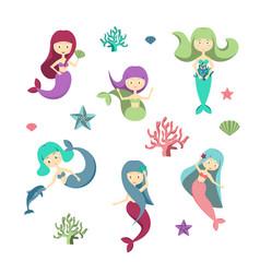 cartoon color characters mermaids girls set vector image