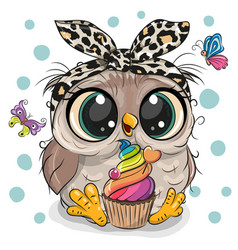 Cartoon owl with cake and butterflies vector