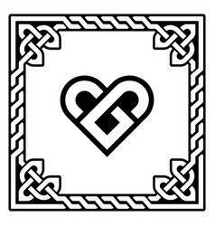 celtic heart greeting card design vector image