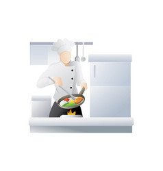 chef in restaurant kitchen cooking vector image