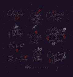 christmas pen line lettering dark vector image