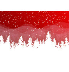 christmas winter on red background white snow vector image