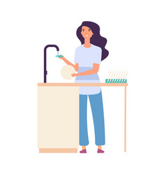 cleaning kitchen woman washing dishes dirty vector image