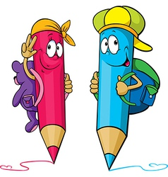 Colored pencils cartoon with school bags on their vector