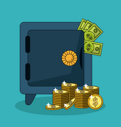 colorful background with safe box and money bills vector image