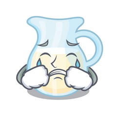 Crying milk jug completely filled with character vector