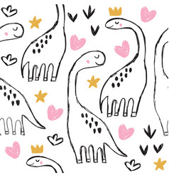 cute brontosaurus and doodles seamless pattern vector image
