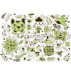 Cute hand drawn set of summer forest elements vector image