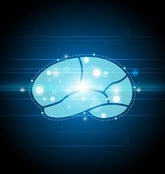 Digital brain technology background vector