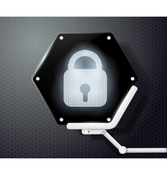 digital lock icon on the screen in the form of vector image