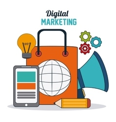Digital Marketing over white background vector image