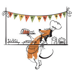 dog snack bar with cute doodle dog vector image