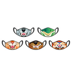 Face masks with scary animal mouth with fangs vector