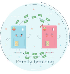 family banking concept in line art style vector image