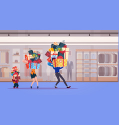 Family carry stack of presents over shop vector