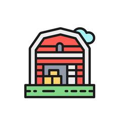 Farm house landscape flat color line icon vector