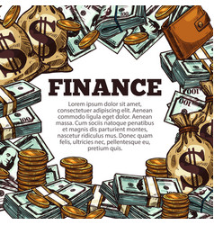 finance business poster with money sketch frame vector image