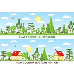 Flat tree and house vector
