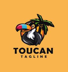 fun colorful toucan logo mascot cartoon vector image