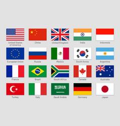 G20 countries flags major world advanced vector