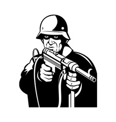 German World War two soldier pointing a gun vector image
