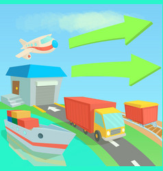 global logistics network concept cartoon style vector image