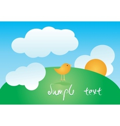 Greeting card with cute bird vector