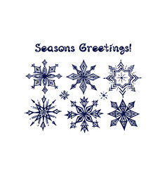 hand drawn winter set with snowflakes vector image