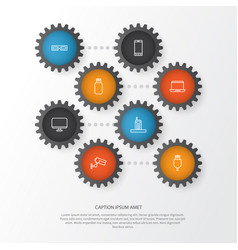 Hardware icons set collection of usb monitor vector