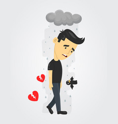Heartbroken sad young man guy vector