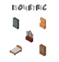 Isometric furnishing set of sideboard bedstead vector