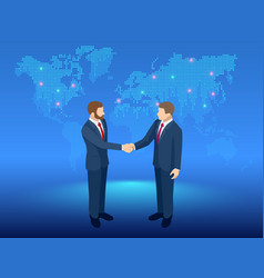 Isometric global cooperation businessmen shaking vector