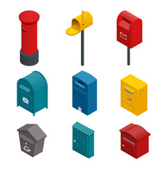 Isometric set a post box or written postbox vector