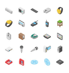 Isometric set of objects collection vector