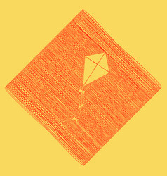 Kite sign red scribble icon obtained as a vector