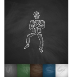 Korean dancing icon Hand drawn vector image