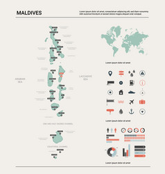 Map maldives country map with division cities vector
