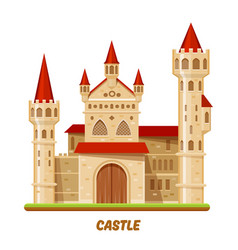 Medieval castle or fairy palace fantasy kingdom vector