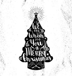 Merry christmas hipster vintage xmas black tree vector