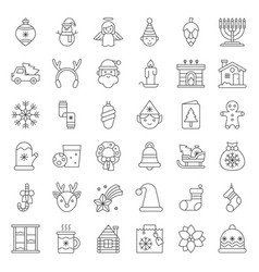 Merry christmas set 5 outline icon editable stroke vector